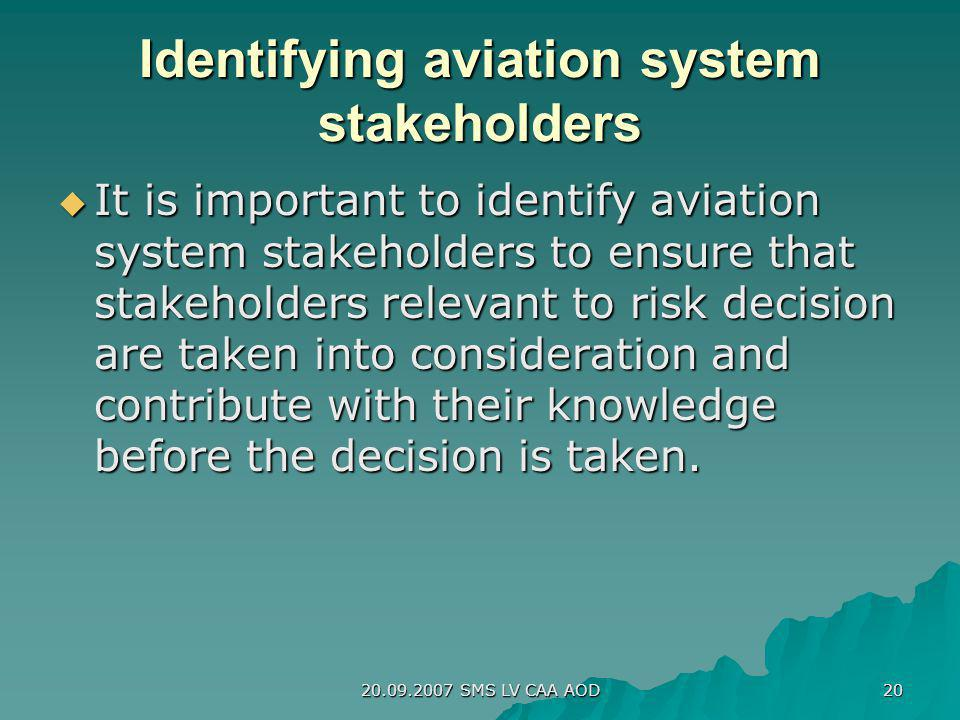 20.09.2007 SMS LV CAA AOD 20 Identifying aviation system stakeholders It is important to identify aviation system stakeholders to ensure that stakehol