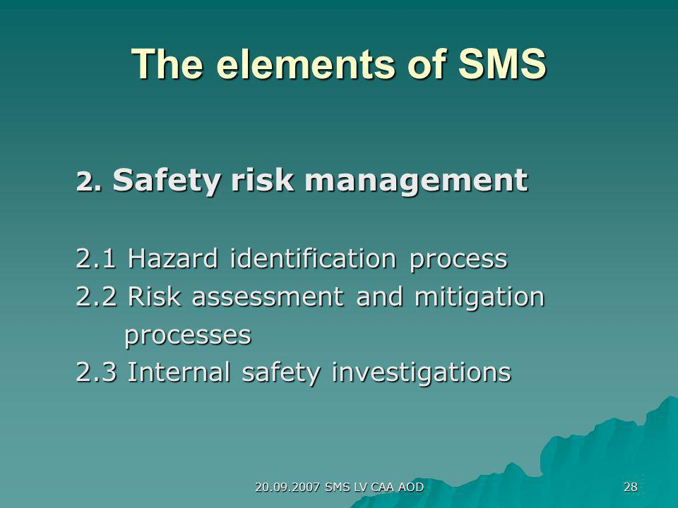 20.09.2007 SMS LV CAA AOD 28 The elements of SMS 2. Safety risk management 2.1 Hazard identification process 2.2 Risk assessment and mitigation proces