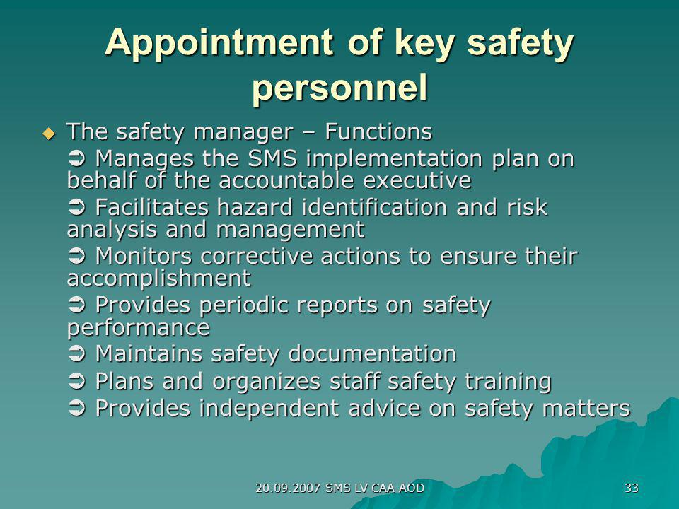 20.09.2007 SMS LV CAA AOD 33 Appointment of key safety personnel The safety manager – Functions The safety manager – Functions Manages the SMS impleme