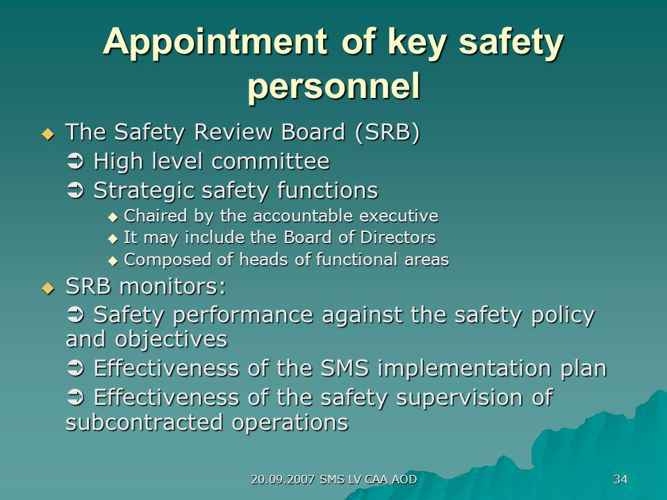 20.09.2007 SMS LV CAA AOD 34 Appointment of key safety personnel The Safety Review Board (SRB) The Safety Review Board (SRB) High level committee High