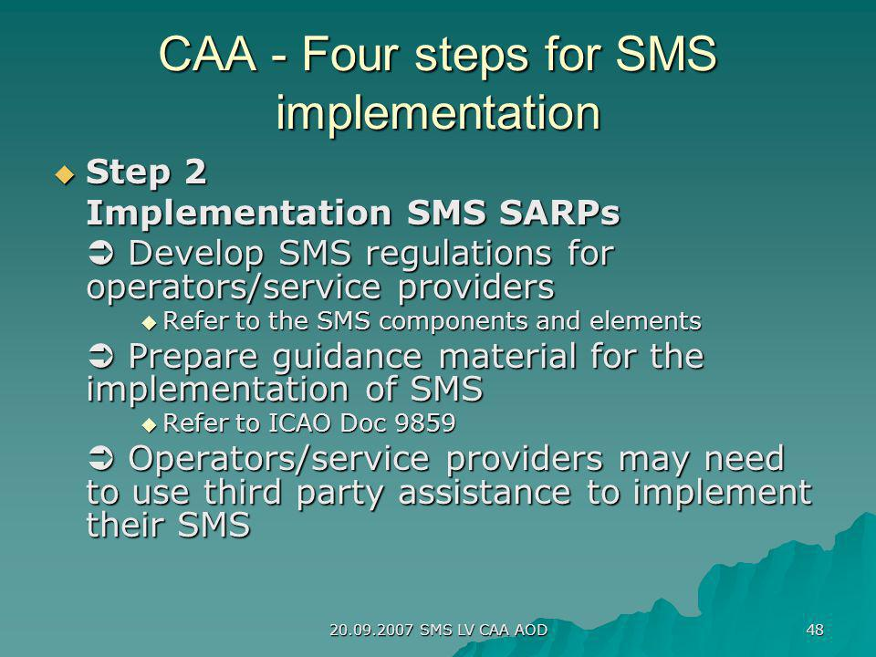 20.09.2007 SMS LV CAA AOD 48 CAA - Four steps for SMS implementation Step 2 Step 2 Implementation SMS SARPs Develop SMS regulations for operators/serv
