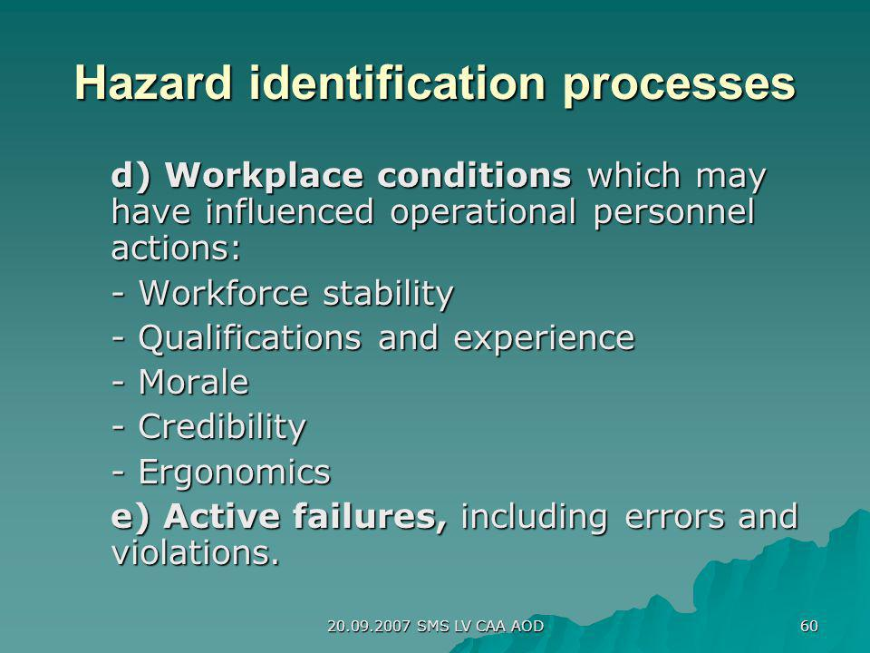 20.09.2007 SMS LV CAA AOD 60 Hazard identification processes d) Workplace conditions which may have influenced operational personnel actions: - Workfo