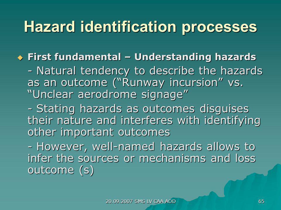 20.09.2007 SMS LV CAA AOD 65 Hazard identification processes First fundamental – Understanding hazards First fundamental – Understanding hazards - Nat