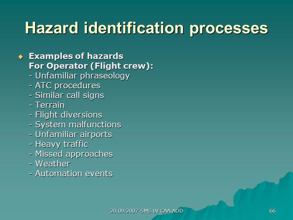 20.09.2007 SMS LV CAA AOD 66 Hazard identification processes Examples of hazards Examples of hazards For Operator (Flight crew): - Unfamiliar phraseol