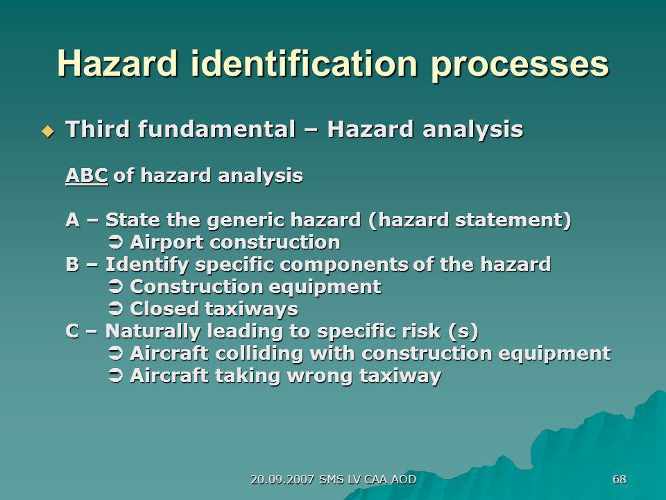 20.09.2007 SMS LV CAA AOD 68 Hazard identification processes Third fundamental – Hazard analysis Third fundamental – Hazard analysis ABC of hazard ana