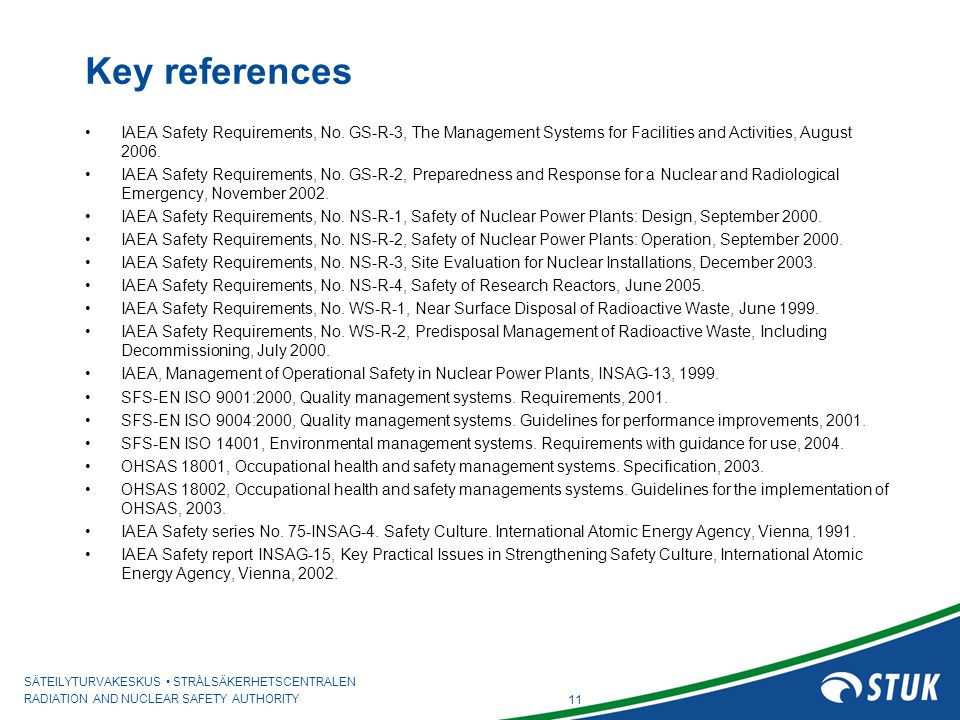 SÄTEILYTURVAKESKUS STRÅLSÄKERHETSCENTRALEN RADIATION AND NUCLEAR SAFETY AUTHORITY Key references IAEA Safety Requirements, No. GS-R-3, The Management
