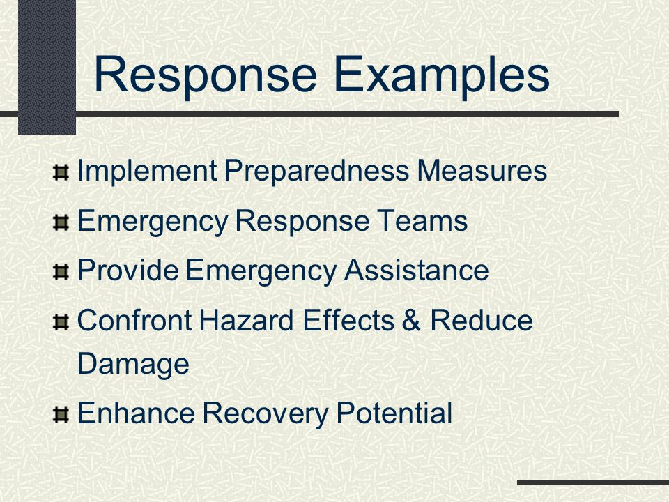 Response Examples Implement Preparedness Measures Emergency Response Teams Provide Emergency Assistance Confront Hazard Effects & Reduce Damage Enhanc