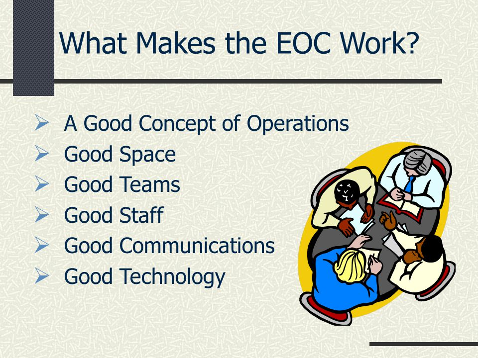 A Good Concept of Operations Good Space Good Teams Good Staff Good Communications Good Technology What Makes the EOC Work?