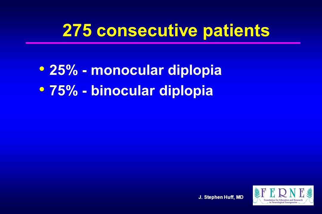 J. Stephen Huff, MD 275 consecutive patients 25% - monocular diplopia 75% - binocular diplopia