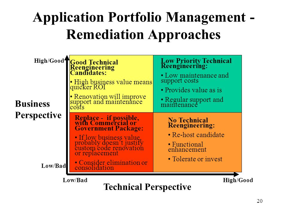 20 Application Portfolio Management - Remediation Approaches Replace - if possible, with Commercial or Government Package: If low business value, prob