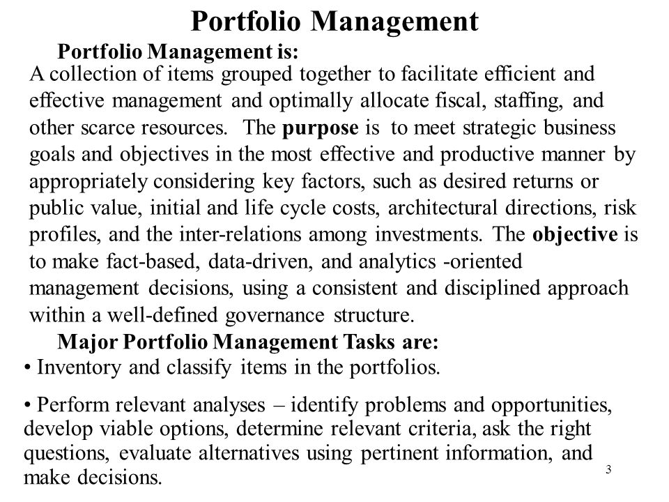 4 Status of Implementation of Portfolio Management Phase/Type of Portfolio Management Effort Implementation Status and Timeframe Investment (IPM) In process - initial efforts in winter and spring 2006 as part of applications endeavor; more advanced capabilities will be implemented later as agencies are ready and need them In process - winter and spring 2006 Applications (APM) Topic Research and Purchase of Tool Completed – performed in 2004 and early 2005 Completed – performed summer and fall 2005 Project (PPM)