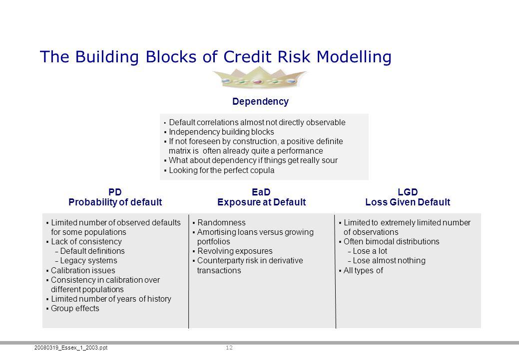 20080319_Essex_1_2003.ppt The Building Blocks of Credit Risk Modelling 12 PD Probability of default EaD Exposure at Default LGD Loss Given Default Dep