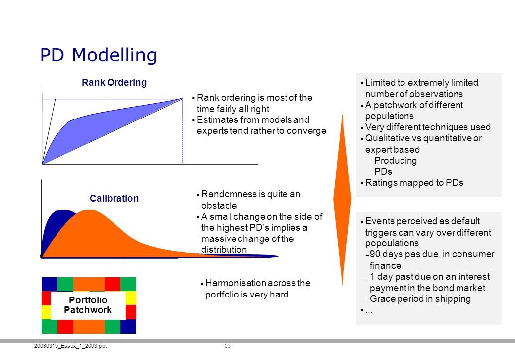 20080319_Essex_1_2003.ppt PD Modelling 13 Randomness is quite an obstacle A small change on the side of the highest PDs implies a massive change of the distribution Rank ordering is most of the time fairly all right Estimates from models and experts tend rather to converge Rank Ordering Calibration Limited to extremely limited number of observations A patchwork of different populations Very different techniques used Qualitative vs quantitative or expert based Producing PDs Ratings mapped to PDs Events perceived as default triggers can vary over different popoulations 90 days pas due in consumer finance 1 day past due on an interest payment in the bond market Grace period in shipping...