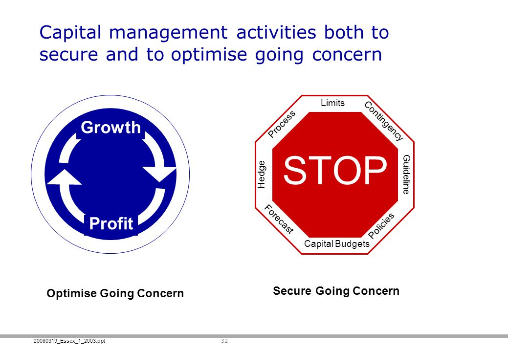 20080319_Essex_1_2003.ppt 32 Capital management activities both to secure and to optimise going concern Capital Budgets Limits Hedge Process Contingen