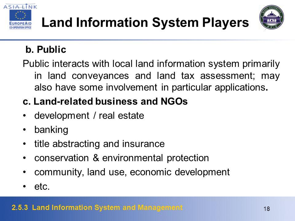 2.5.3 Land Information System and Management 18 Land Information System Players b. Public Public interacts with local land information system primaril