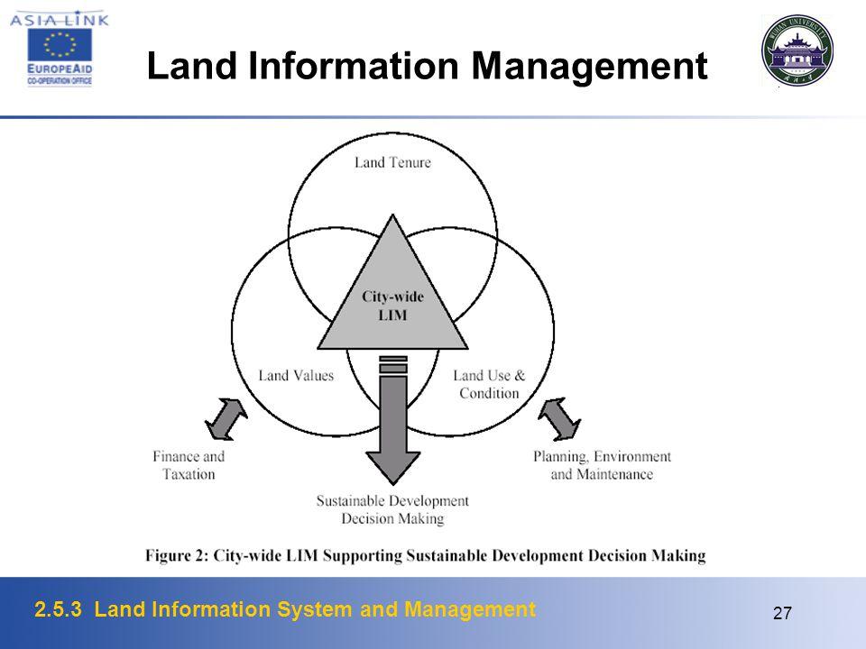 2.5.3 Land Information System and Management 27 Land Information Management