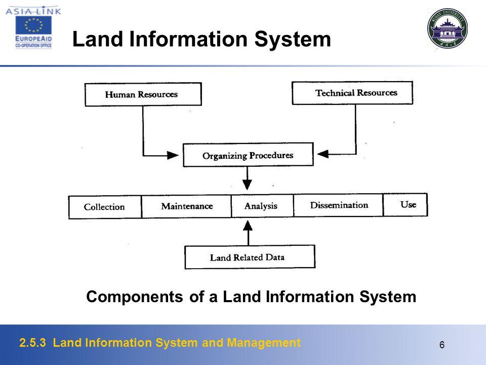 2.5.3 Land Information System and Management 6 Components of a Land Information System Land Information System