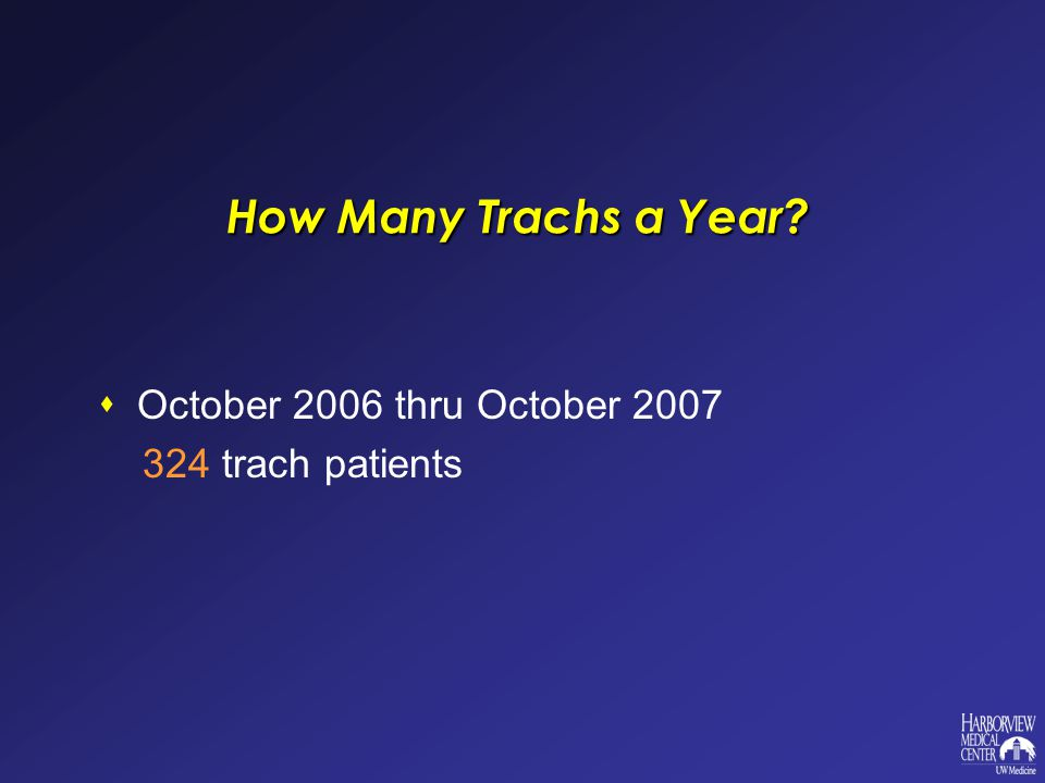How Many Trachs a Year October 2006 thru October 2007 324 trach patients