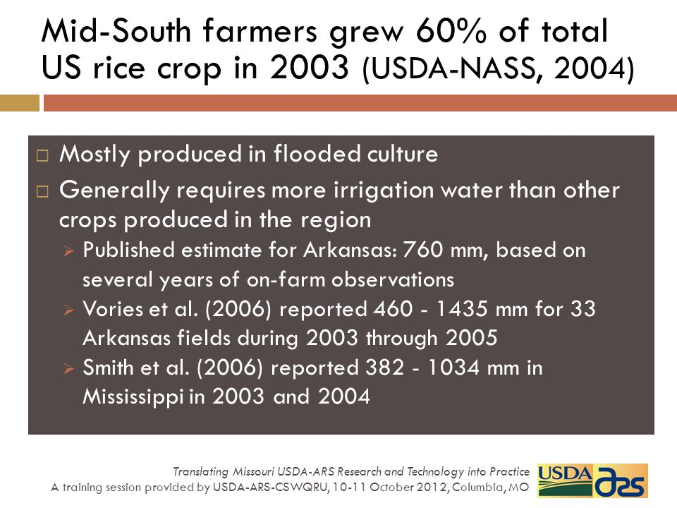 Mid-South farmers grew 60% of total US rice crop in 2003 (USDA-NASS, 2004) Mostly produced in flooded culture Generally requires more irrigation water