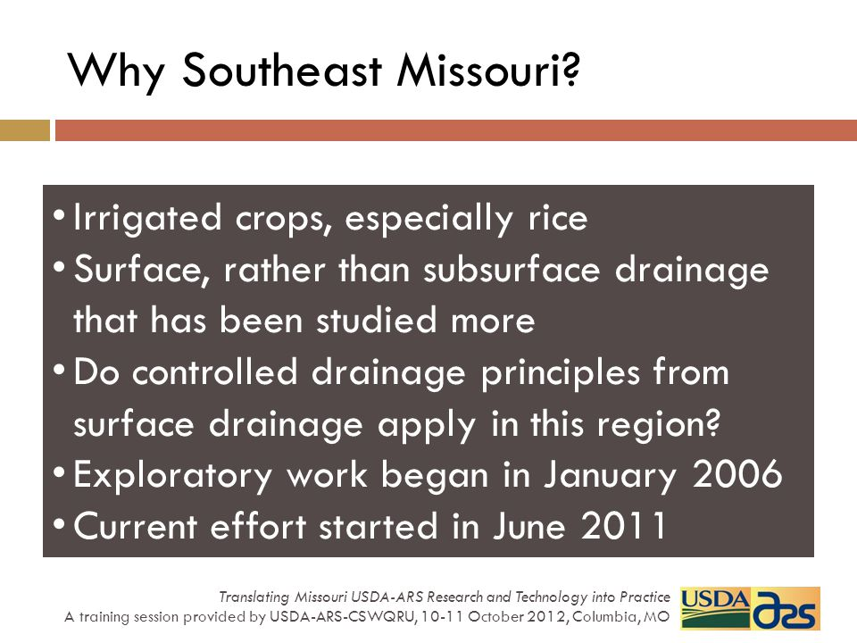 Irrigated crops, especially rice Surface, rather than subsurface drainage that has been studied more Do controlled drainage principles from surface dr