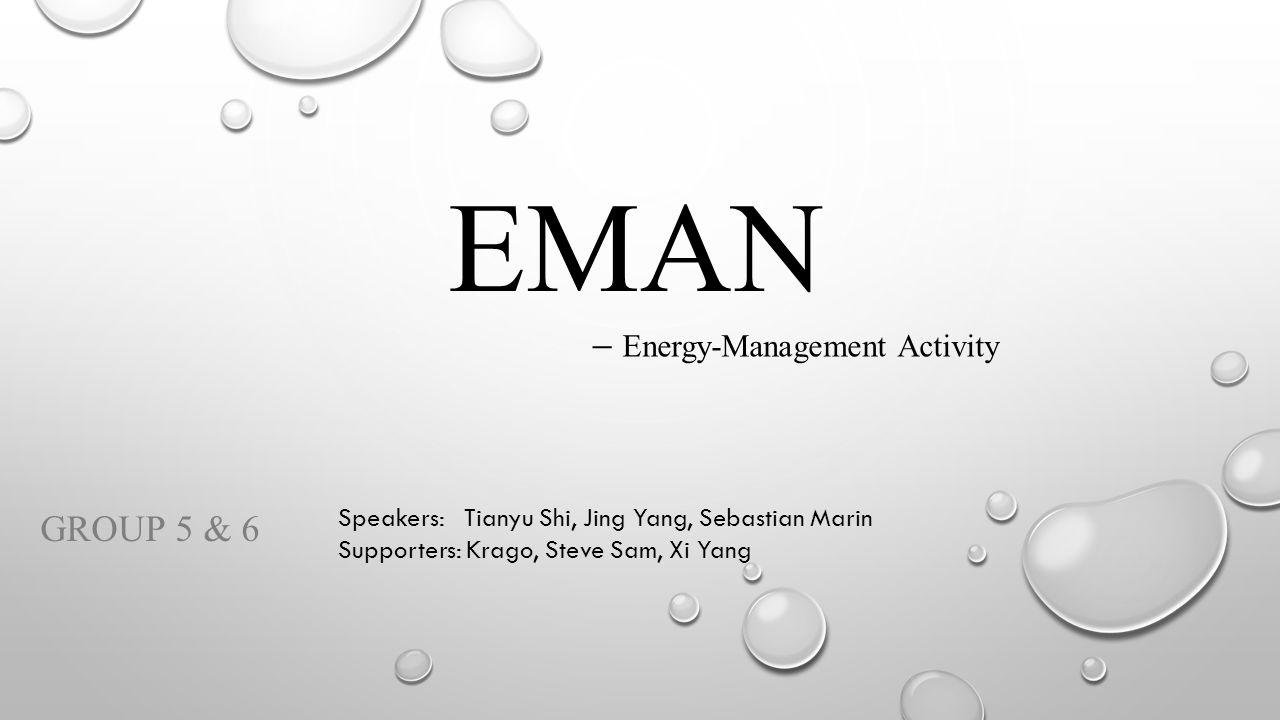 EMAN GROUP 5 & 6 Speakers: Tianyu Shi, Jing Yang, Sebastian Marin Supporters: Krago, Steve Sam, Xi Yang