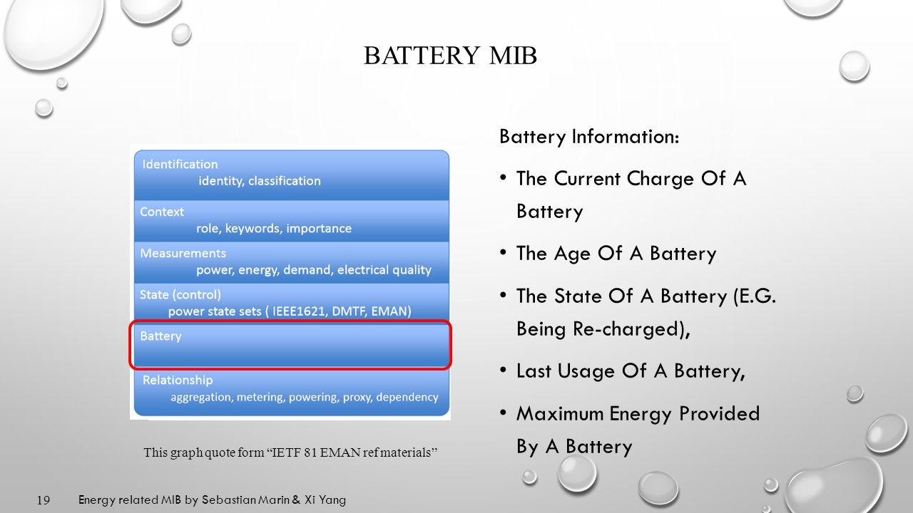 BATTERY MIB Battery Information: The Current Charge Of A Battery The Age Of A Battery The State Of A Battery (E.G.