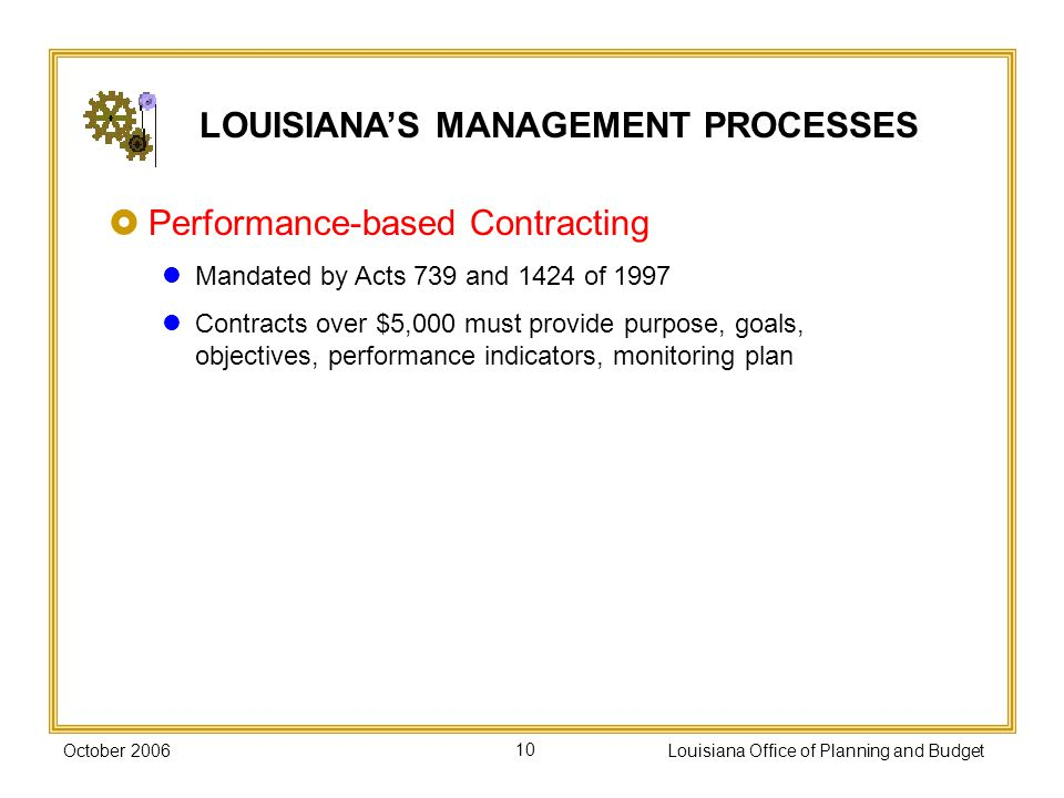 October 2006Louisiana Office of Planning and Budget10 Performance-based Contracting Mandated by Acts 739 and 1424 of 1997 Contracts over $5,000 must provide purpose, goals, objectives, performance indicators, monitoring plan LOUISIANAS MANAGEMENT PROCESSES