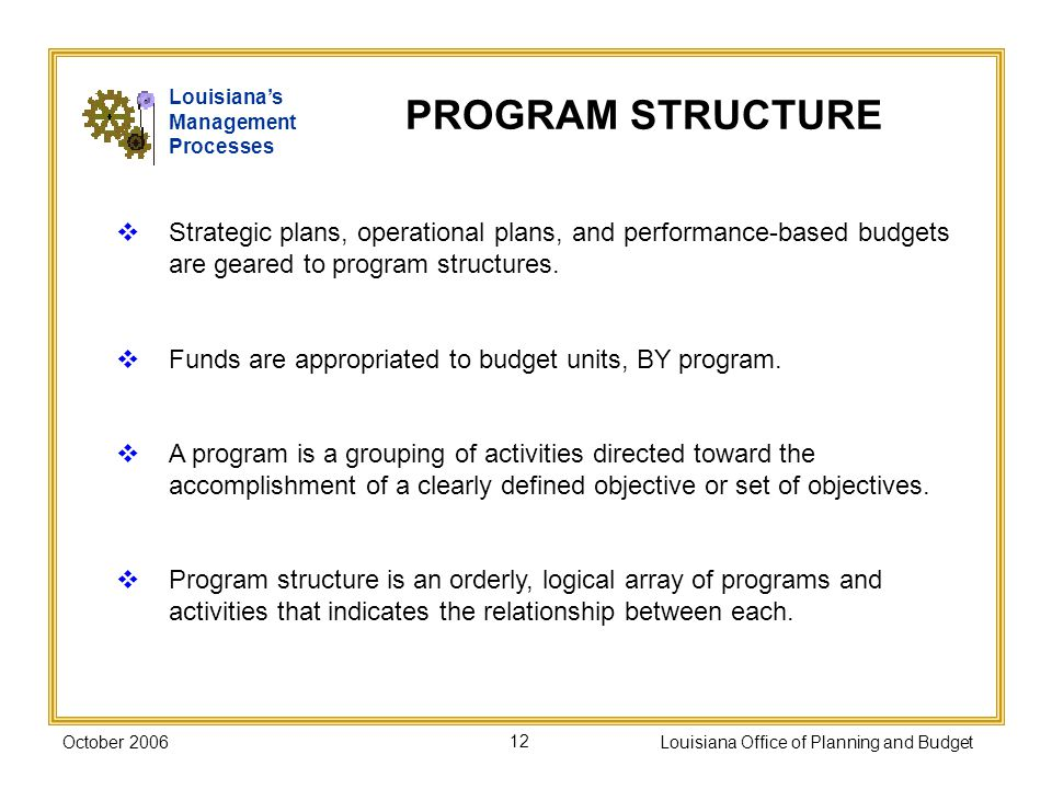 October 2006Louisiana Office of Planning and Budget12 Strategic plans, operational plans, and performance-based budgets are geared to program structures.