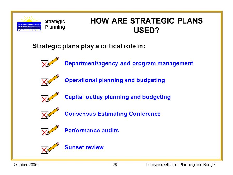October 2006Louisiana Office of Planning and Budget20 HOW ARE STRATEGIC PLANS USED.