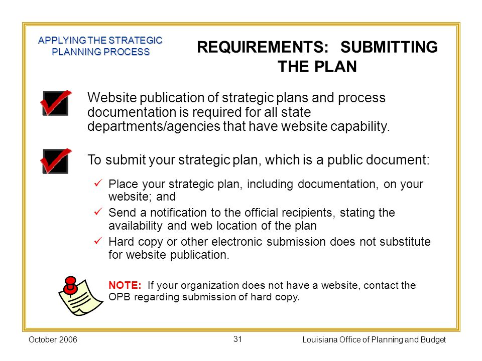 October 2006Louisiana Office of Planning and Budget31 Website publication of strategic plans and process documentation is required for all state departments/agencies that have website capability.