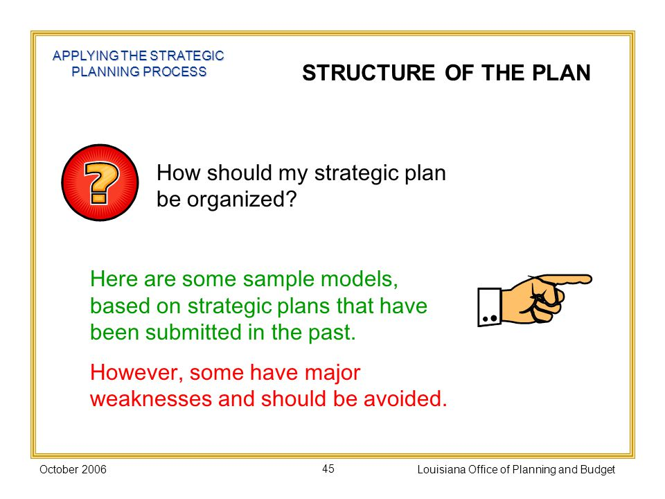 October 2006Louisiana Office of Planning and Budget45 APPLYING THE STRATEGIC PLANNING PROCESS STRUCTURE OF THE PLAN How should my strategic plan be organized.