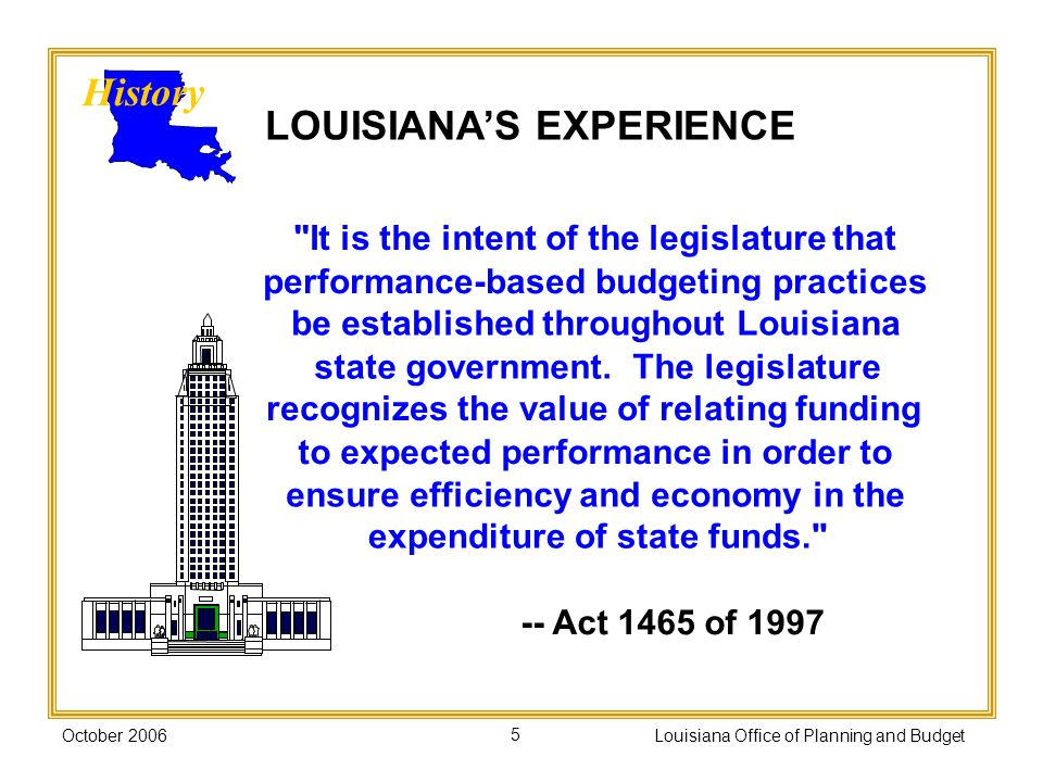 October 2006Louisiana Office of Planning and Budget5 It is the intent of the legislature that performance-based budgeting practices be established throughout Louisiana state government.