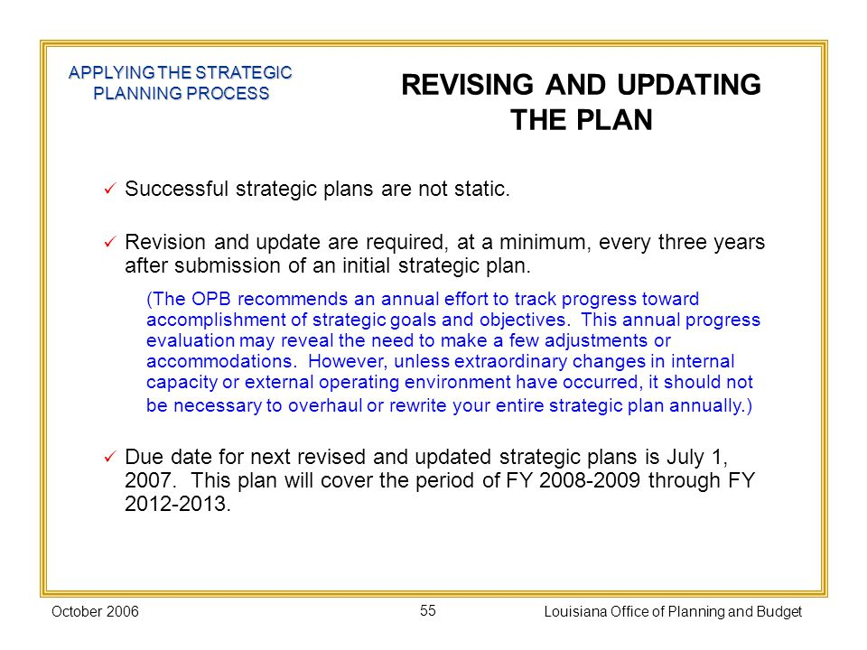 October 2006Louisiana Office of Planning and Budget55 APPLYING THE STRATEGIC PLANNING PROCESS REVISING AND UPDATING THE PLAN Successful strategic plans are not static.