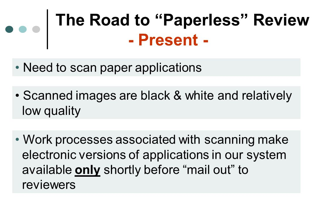 The Road to Paperless Review - Very Near Future - Electronic Receipt On February 1, 2005 NIH will allow applicants to electronically submit R01, R03, and R21 applications that have modular budgets and no sub-contract Some information about electronically submitted applications will be captured automatically to populate data fields within NIH electronic data management systems, reducing staffing requirements and time needed for processing Electronic receipt will result in automatically captured data ready for further manipulation