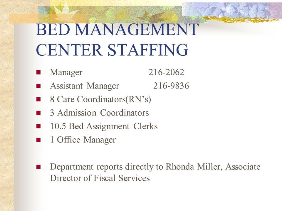 BED MANAGEMENT CENTER STAFFING Manager216-2062 Assistant Manager 216-9836 8 Care Coordinators(RNs) 3 Admission Coordinators 10.5 Bed Assignment Clerks