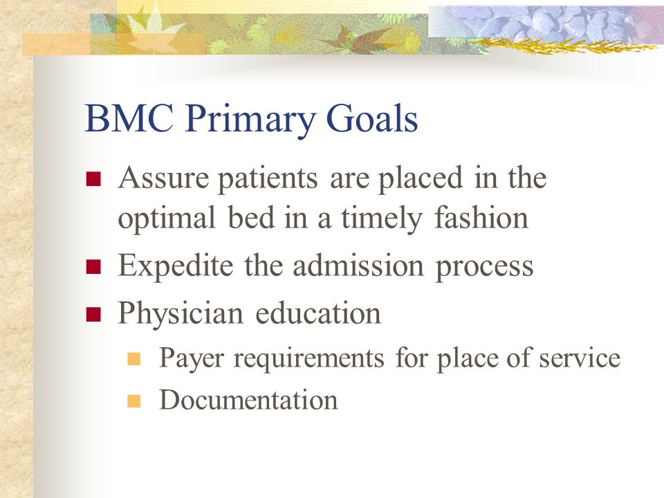 BMC Primary Goals Assure patients are placed in the optimal bed in a timely fashion Expedite the admission process Physician education Payer requirements for place of service Documentation