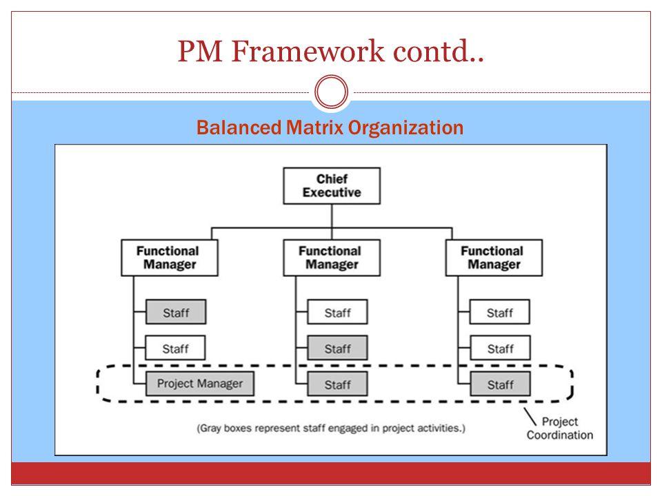 PM Framework contd.. Balanced Matrix Organization