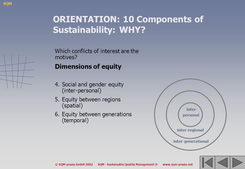 SQM © SQM-praxis GmbH 2002 SQM - Sustainable Quality Management ® www.sqm-praxis.net Which conflicts of interest are the motives? Dimensions of equity