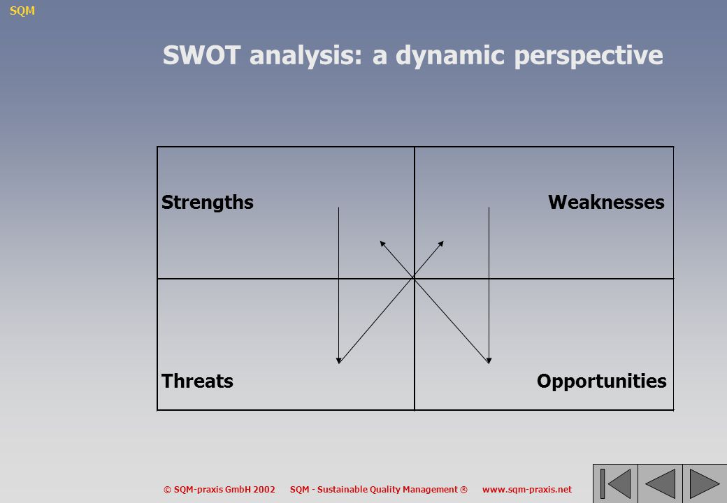 SQM © SQM-praxis GmbH 2002 SQM - Sustainable Quality Management ® www.sqm-praxis.net StrengthsWeaknesses Threats Opportunities SWOT analysis: a dynami