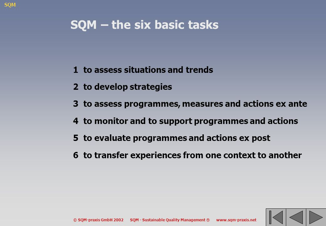 SQM © SQM-praxis GmbH 2002 SQM - Sustainable Quality Management ® www.sqm-praxis.net SQM – the six basic tasks 1to assess situations and trends 2to de