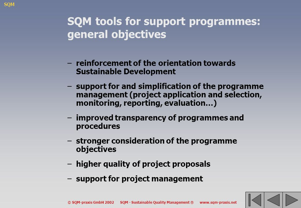 SQM © SQM-praxis GmbH 2002 SQM - Sustainable Quality Management ® www.sqm-praxis.net SQM tools for support programmes: general objectives –reinforceme