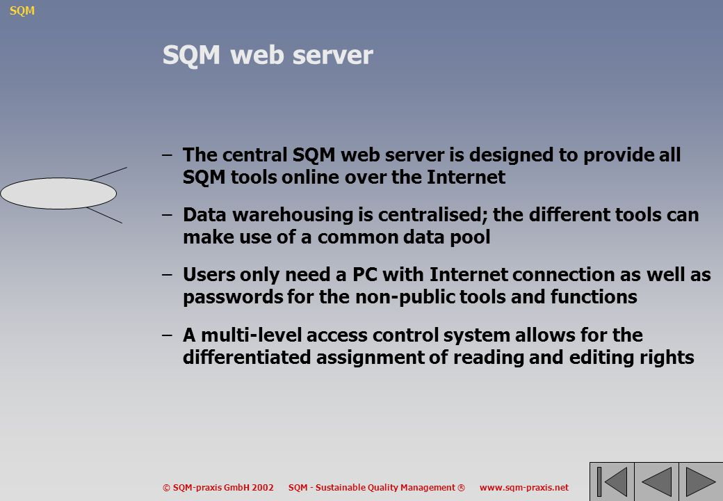 SQM © SQM-praxis GmbH 2002 SQM - Sustainable Quality Management ® www.sqm-praxis.net SQM web server –The central SQM web server is designed to provide