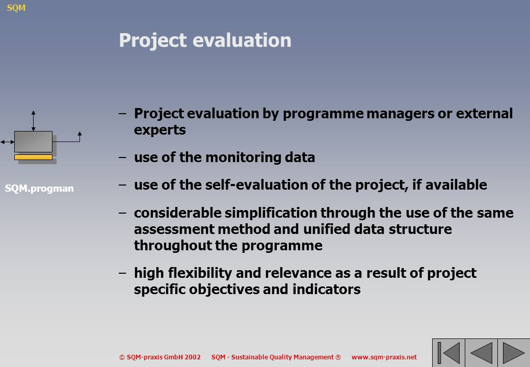 SQM © SQM-praxis GmbH 2002 SQM - Sustainable Quality Management ® www.sqm-praxis.net Project evaluation –Project evaluation by programme managers or e