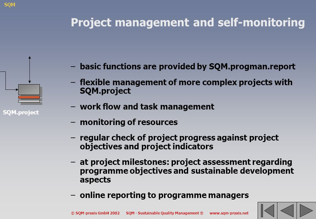 SQM © SQM-praxis GmbH 2002 SQM - Sustainable Quality Management ® www.sqm-praxis.net Project management and self-monitoring –basic functions are provi