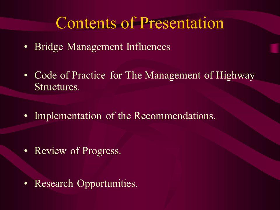 Bridge Management Influences Asset Management Planning Performance Measures Asset Valuation Code of Practice