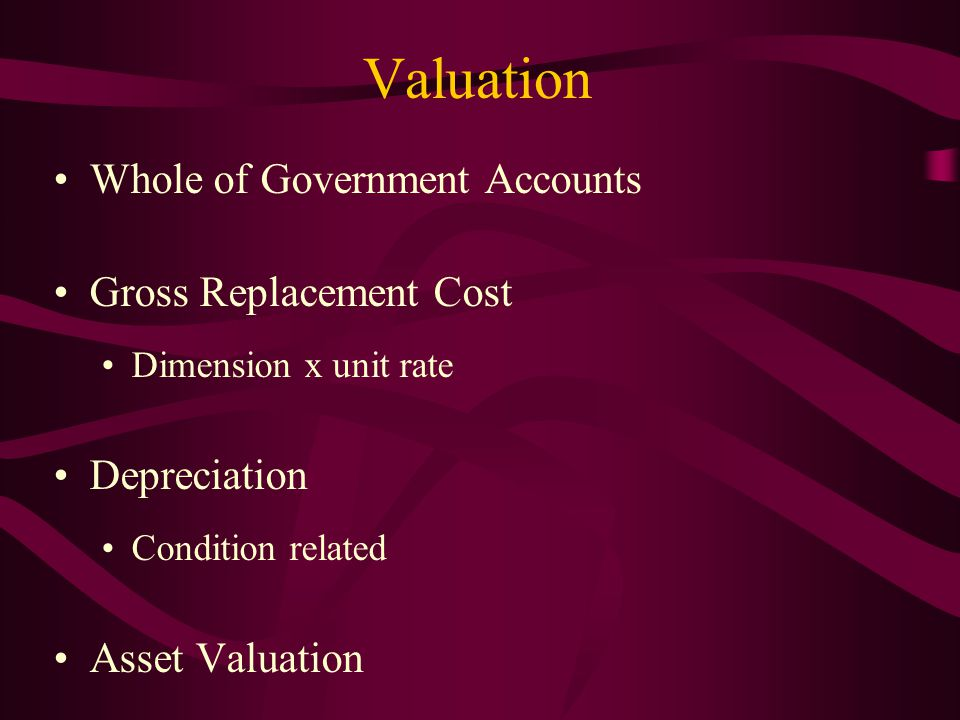 Valuation Whole of Government Accounts Gross Replacement Cost Dimension x unit rate Depreciation Condition related Asset Valuation