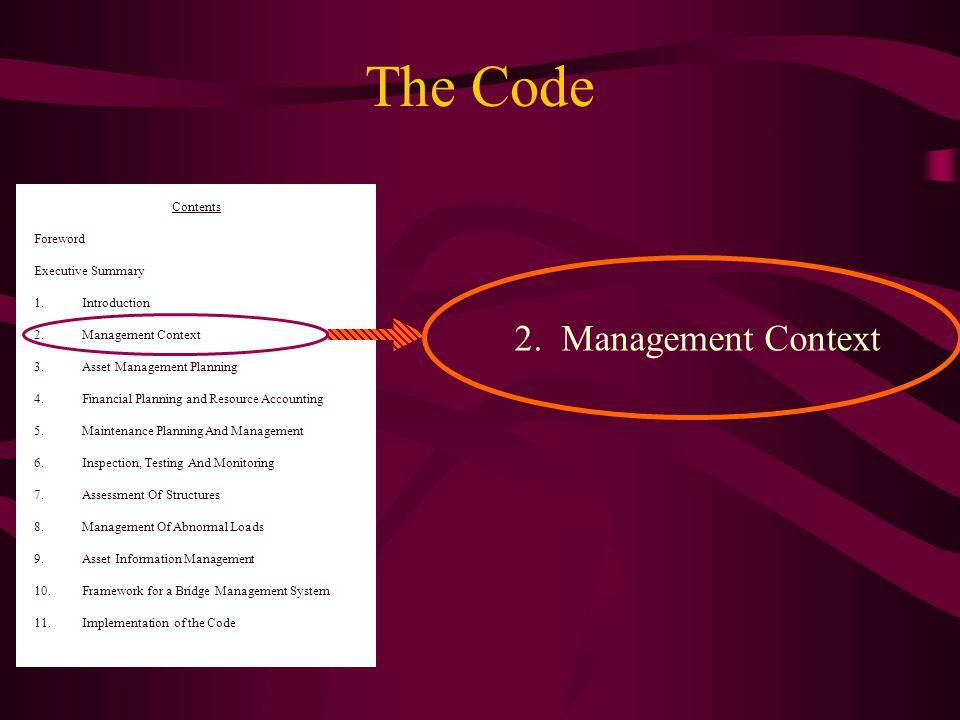 2.Management Context 9. Asset Information Management 10.