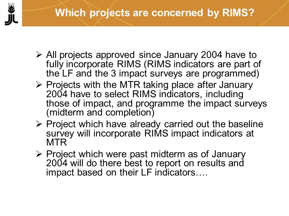 Which projects are concerned by RIMS.