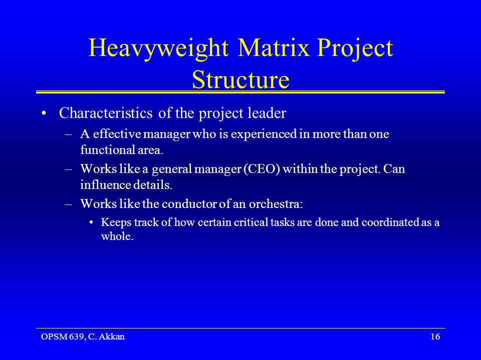 OPSM 639, C. Akkan16 Heavyweight Matrix Project Structure Characteristics of the project leader –A effective manager who is experienced in more than o