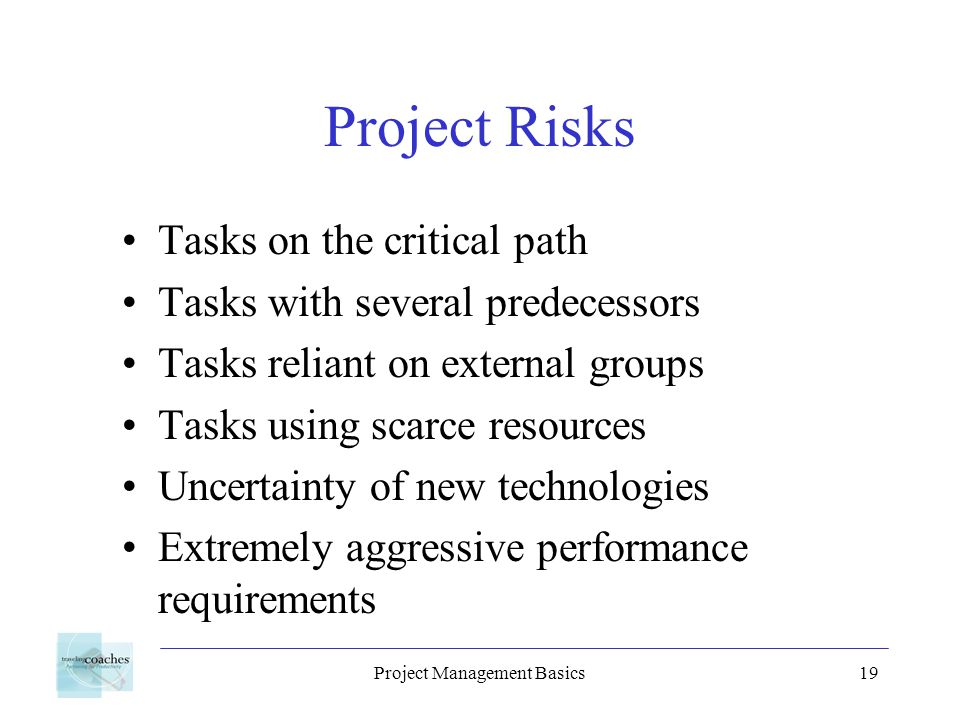 Project Management Basics19 Project Risks Tasks on the critical path Tasks with several predecessors Tasks reliant on external groups Tasks using scarce resources Uncertainty of new technologies Extremely aggressive performance requirements